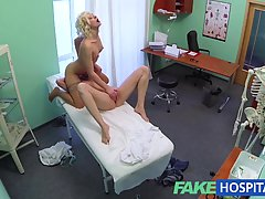Blonde nurse and her girlfriend are making love in her office, during her working hours #873264