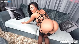 Racy brunette in erotic stockings and lingerie, Honey Demon sucks dick while kneeling on the floor