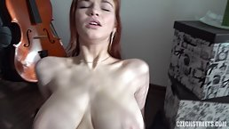 Red haired chick with big, natural tits, Nada is often having sex with her music teacher