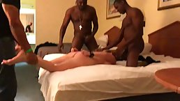 Busty, blonde milf went to a hotel room with a group of black guys and got gangbanged